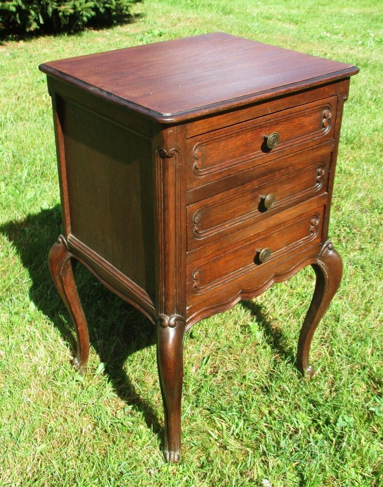 Side Table: Antique French Massive Oak Side Cabinet End Table