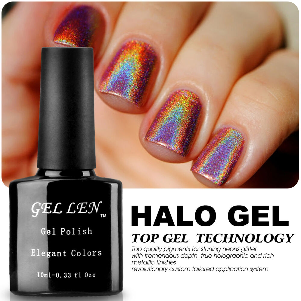 Halo French Gel Polish Soak Off UV Gel Color Glitter Nail