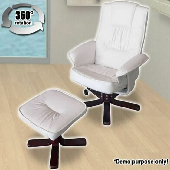 Cream white leather swivel office chair armchairs recliner for Cream office chair