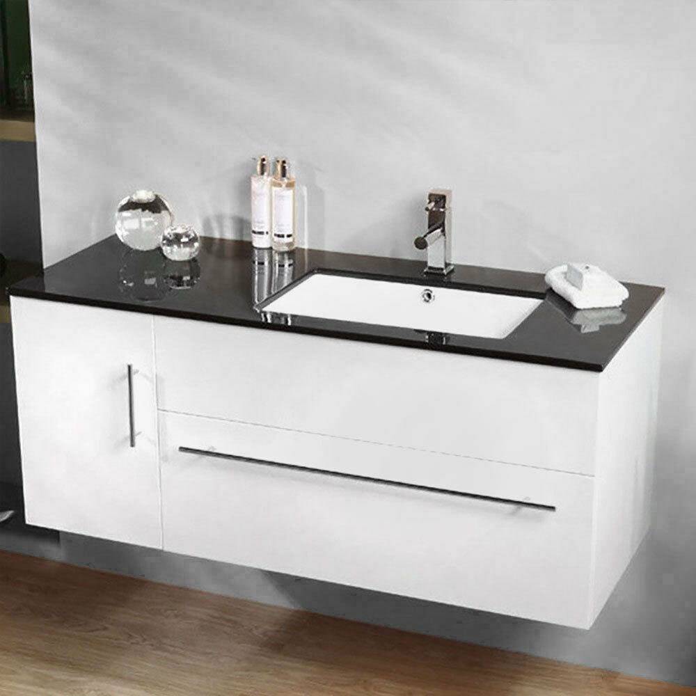 Black 1000mm wall mounted bathroom vanity cabinet unit for Bathroom wash basin with cabinet