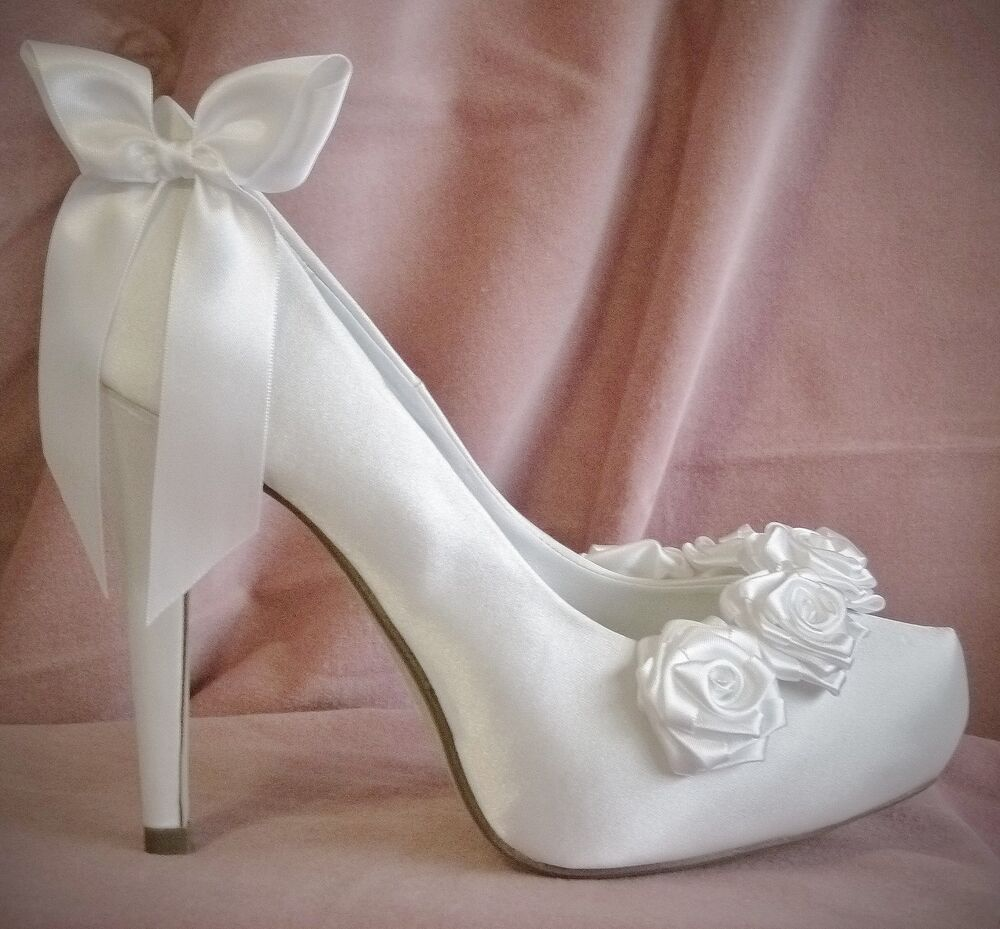 Ivory Bridal Shoes White Satin Boutique Rose Fairytale Bow