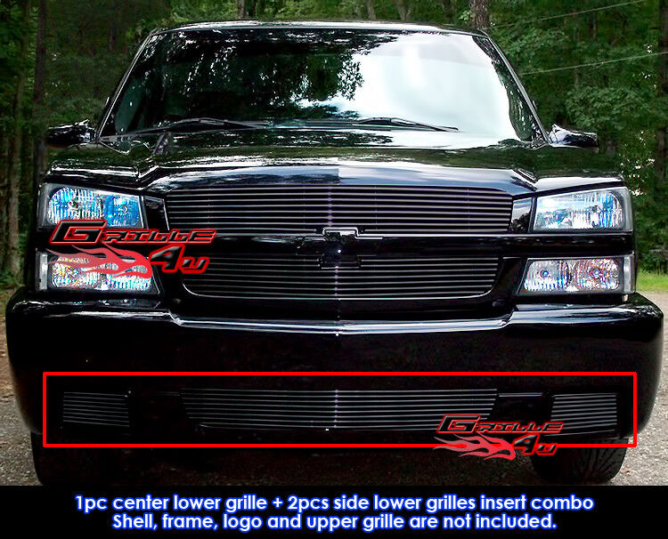 New Chevy Silverado >> Aluminum Black Billet Grille Combo For 03-06 Chevy ...