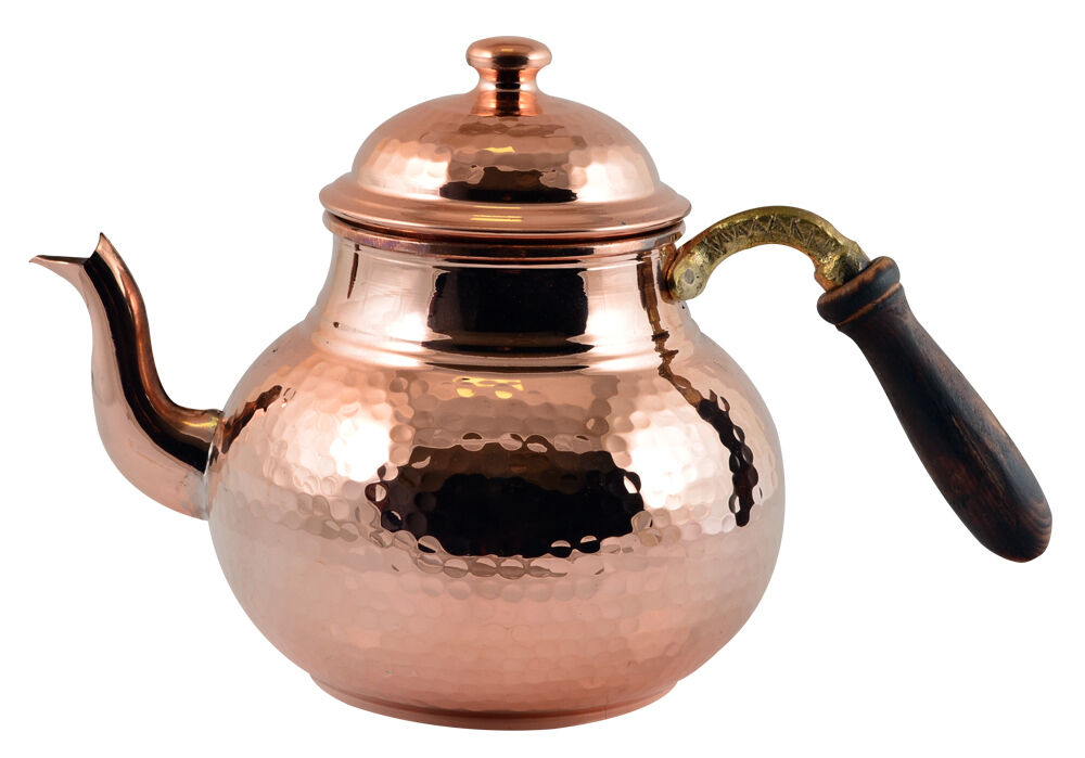 Solid Hammered Copper Stovetop Teapot Tea Kettle Pot Tin