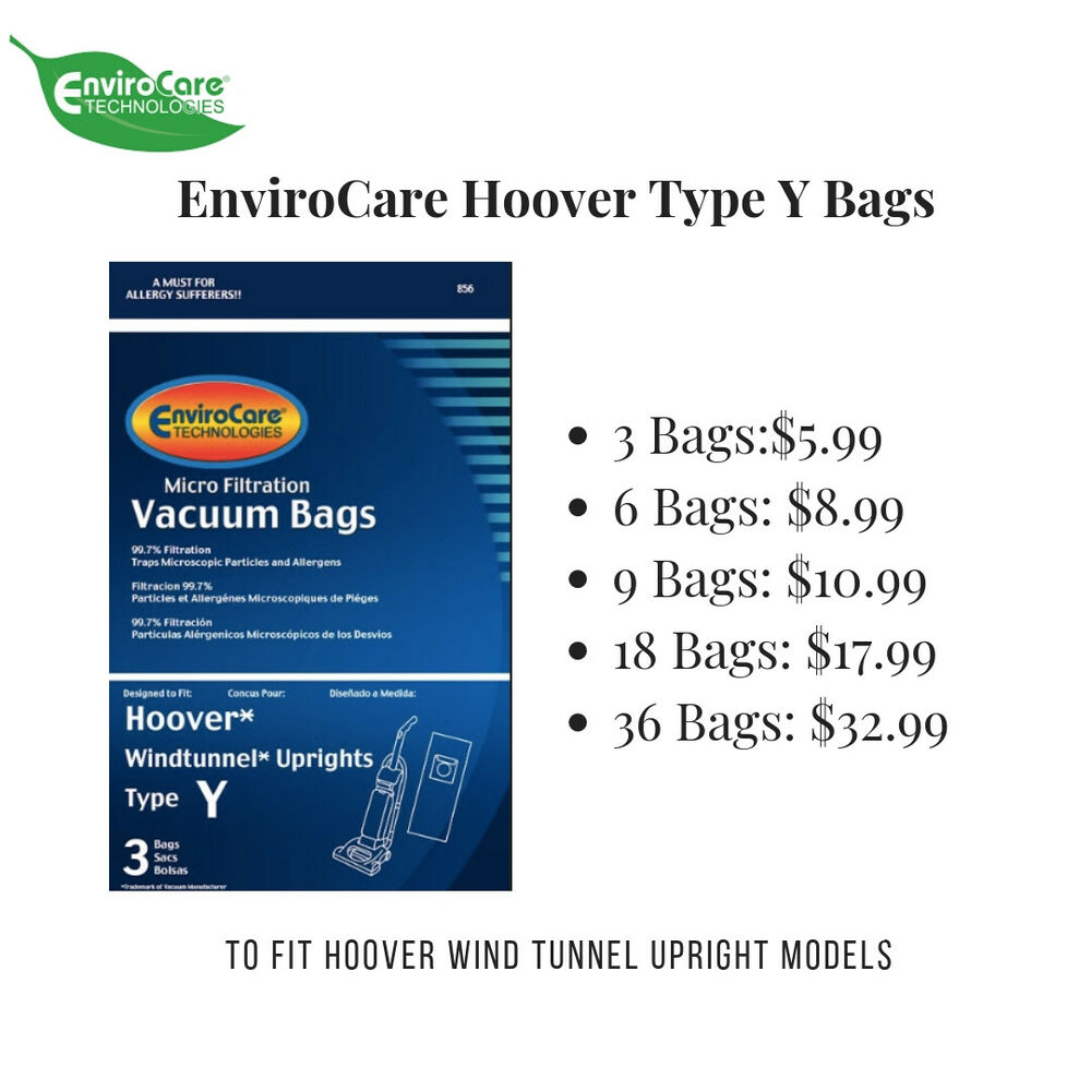 Hoover Type Y Vacuum Bags By Envirocare Fits Wind Tunnel Upright Vacs Ebay