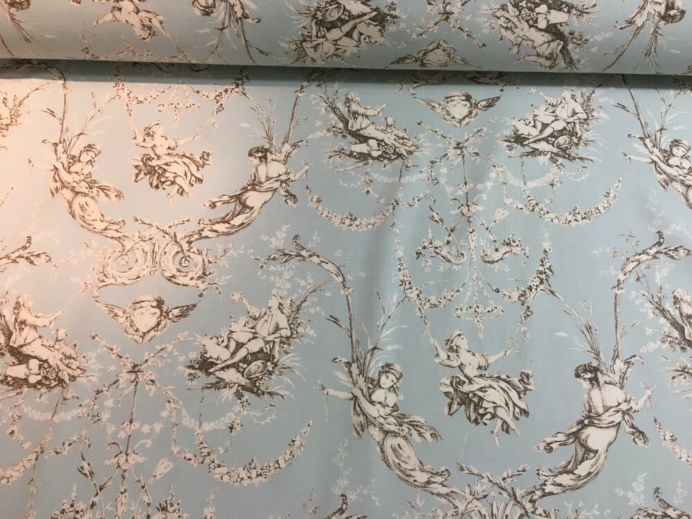 montespan french toile de jouy soft blue duckegg 280cm wide curtain fabric ebay. Black Bedroom Furniture Sets. Home Design Ideas