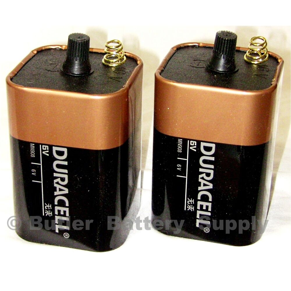 2 x 6 volt 6v duracell coppertop lantern batteries mn908 spring terminals ebay. Black Bedroom Furniture Sets. Home Design Ideas