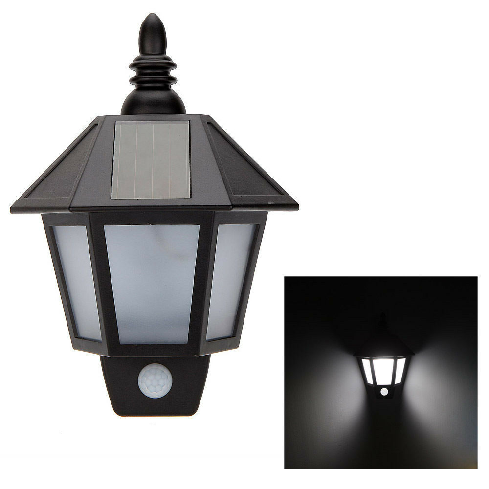 LED Solar Power PIR Motion Sensor Path Wall Light Outdoor Landscape Garden Lamp eBay