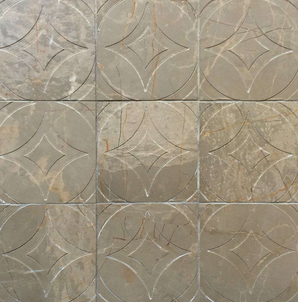 Carmel Kitchen Expansion: Amber Brown 4x4 Circa Carved In Marble Stone Tile