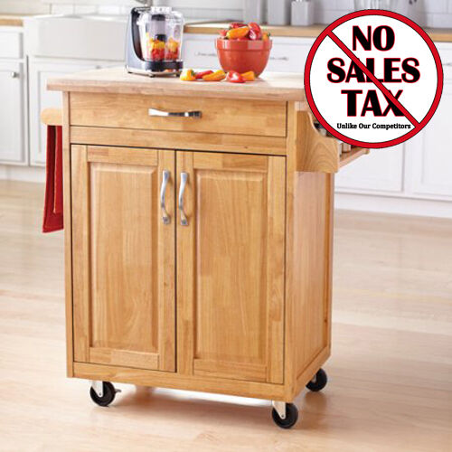 Rolling Kitchen Island Cart Natural Wood Butcher Block