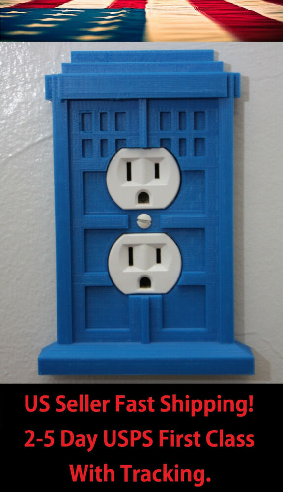 Doctor who tardis wall receptacle plug outlet cover home for Tardis light switch cover
