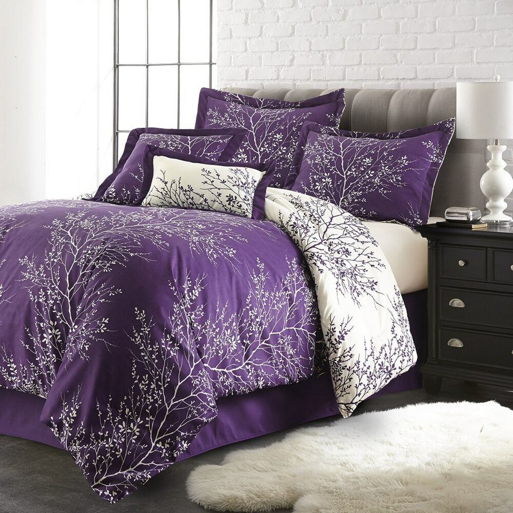 queen purple ivory 6 piece foliage collection plush reversible comforter set ebay. Black Bedroom Furniture Sets. Home Design Ideas