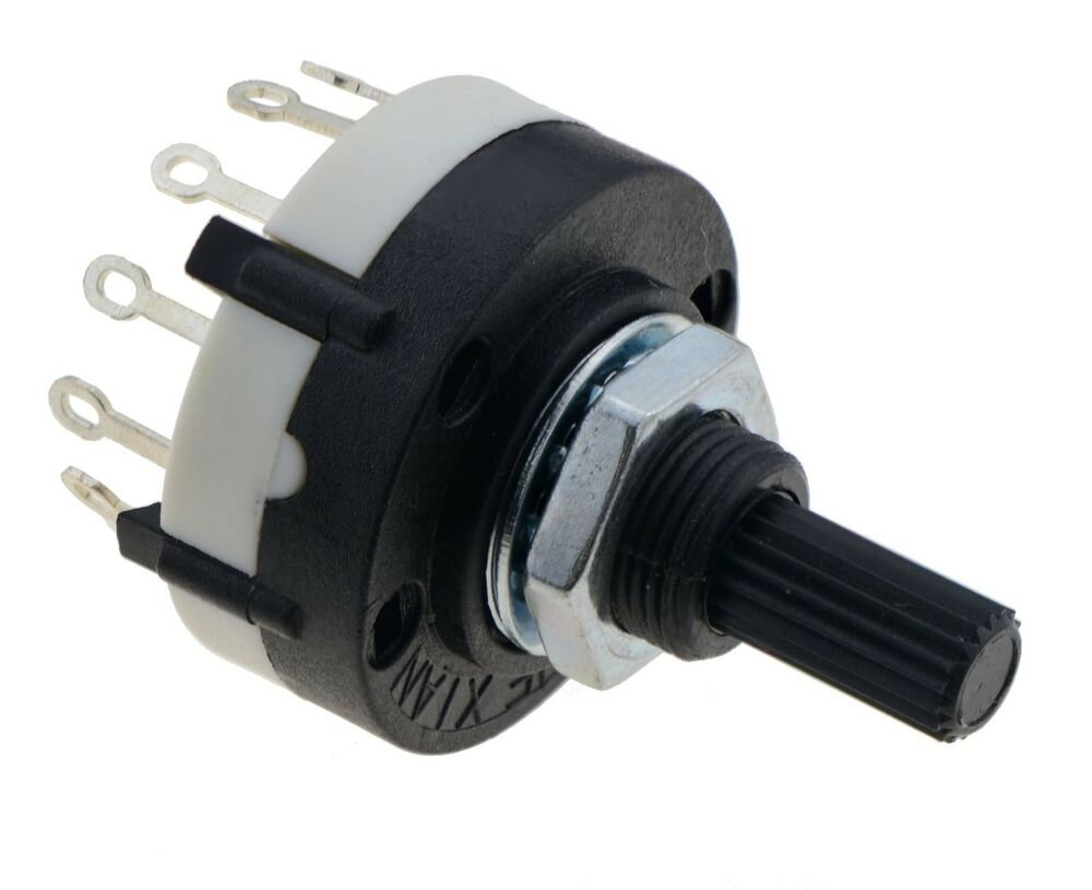 3 Pole    4 Way Black Rotary Switch Solder Terminals