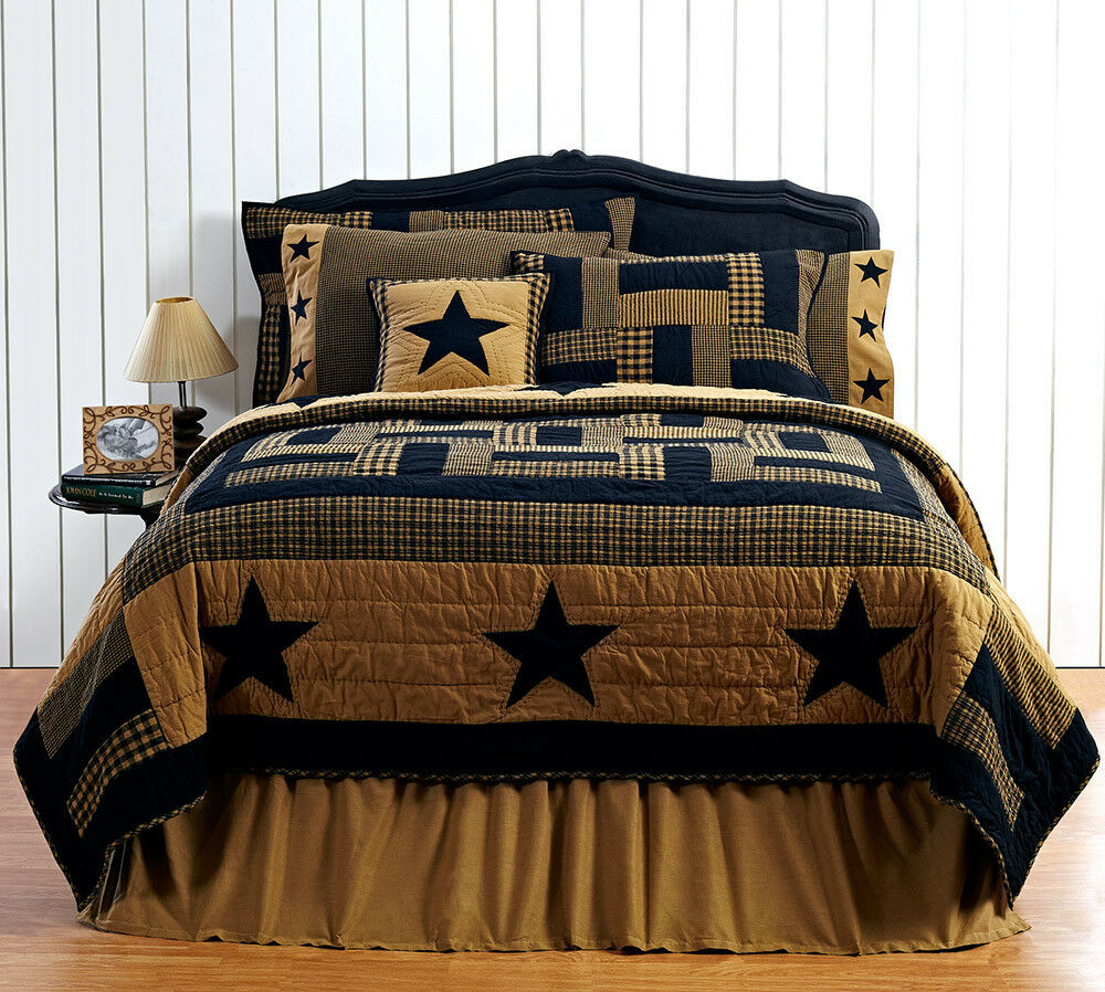DELAWARE STAR 6p King Quilt Set Primitive/Rustic Black
