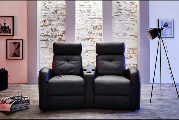 2er kino sessel kunstleder schwarz sofa kinosessel heimkino mit getr nkehalter ebay. Black Bedroom Furniture Sets. Home Design Ideas