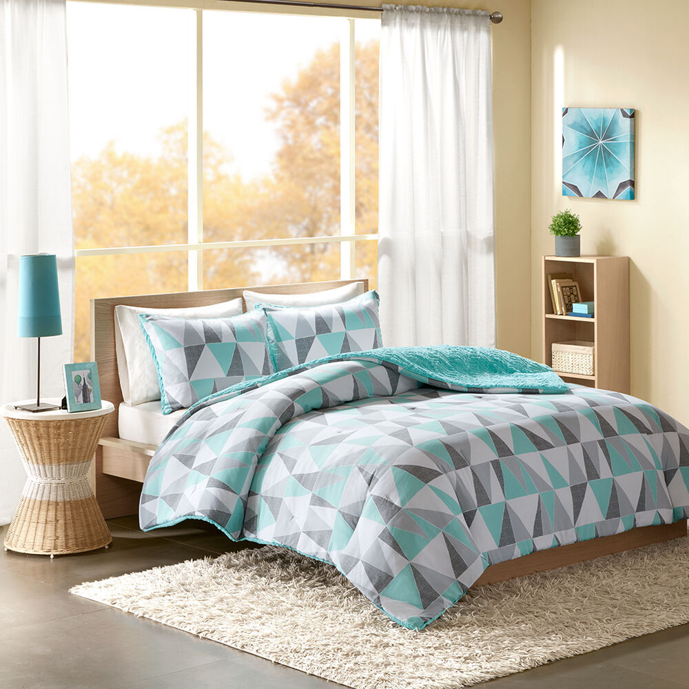 Beautiful ultra soft modern aqua teal blue grey geometric - Modern teenage girl bedroom ...