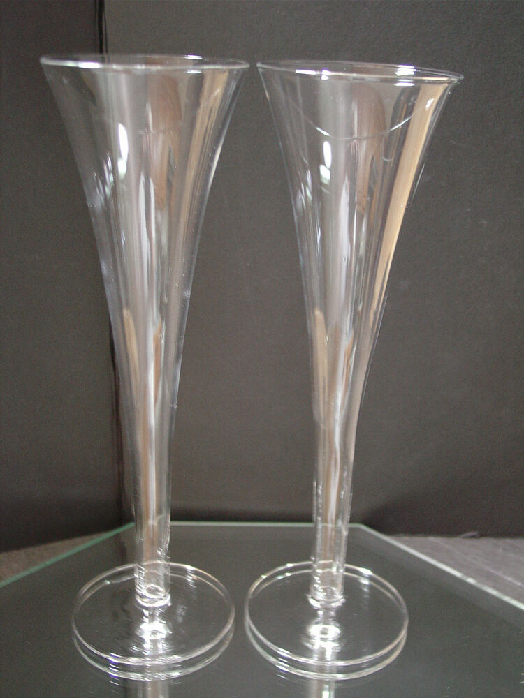 2 crystal champagne flutes hollow stems 9 7 8 tall glasses toasting weddings ebay - Champagne flutes hollow stem ...