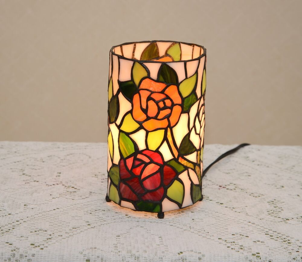 Stained Glass Tiffany Style Round Desktop Rose Flower