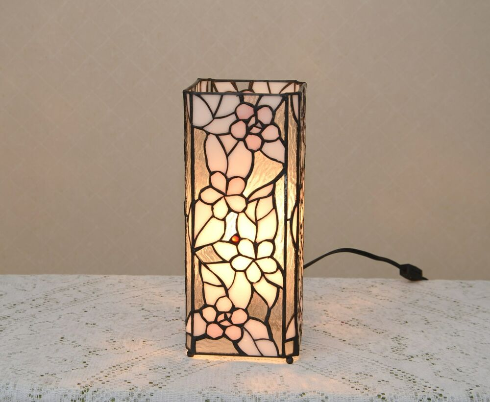 Lite Up Glass Lamps : Quot stained glass tiffany style square desktop flower
