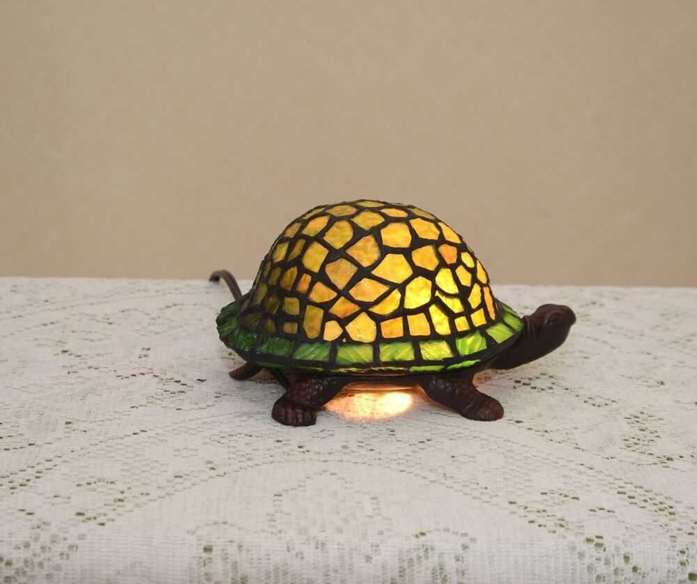 Stained glass tiffany style turtle night light table desk lamp cute ebay - Turtle nite light ...