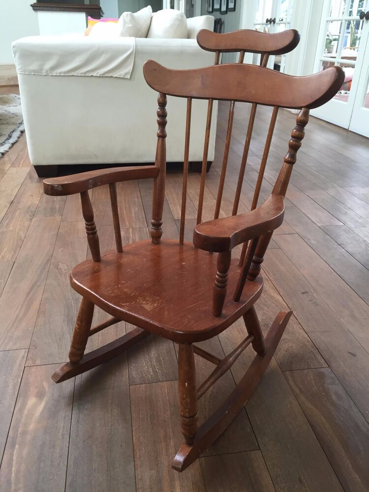 Antique vintage wooden children 39 s high back rocking chair for Child on chair