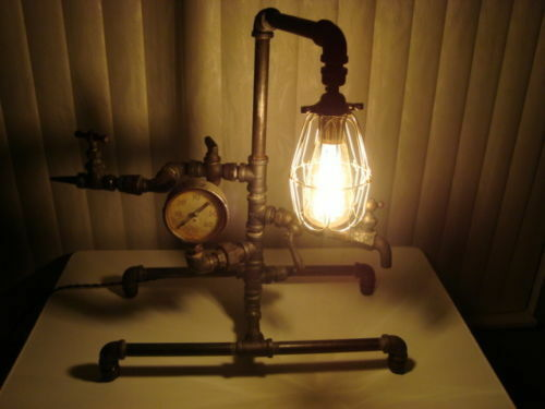 Industrial Light Parts : Industrial steampunk lamp with new electric some brass