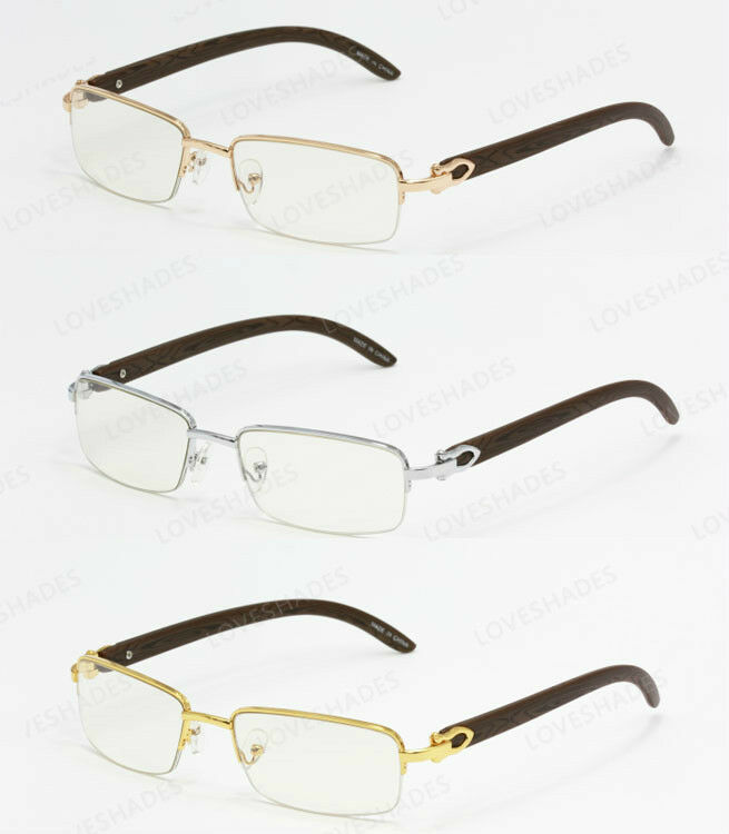 Half Frame Wood Glasses : New Mens Womens 80s Old School Vintage Half Frame Glasses ...