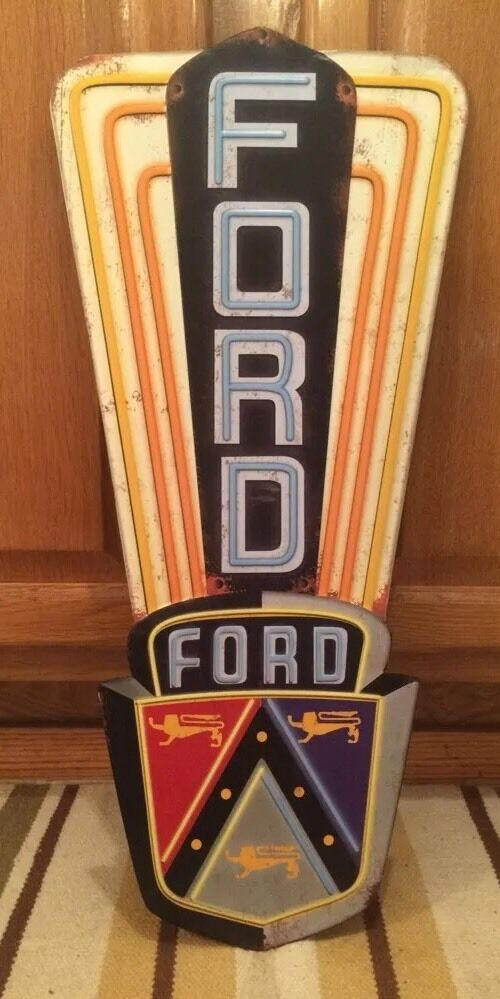 Ford metal mustang boss classic vintage neon look car for Antique car decor