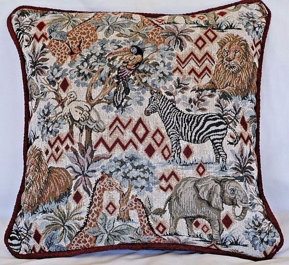 Decorative Tapestry Throw Pillows : tropical african animal throw pillow square tapestry decorative toss wildlife eBay