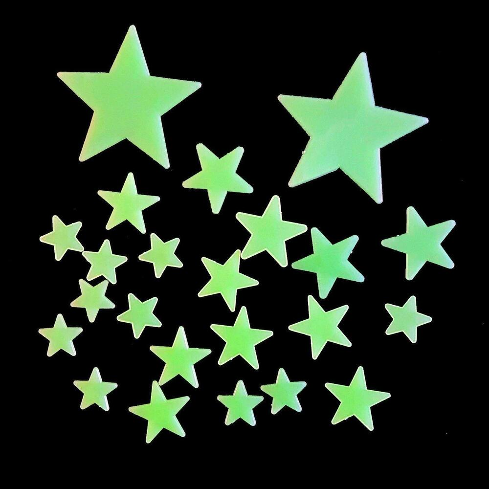stick on glow in the dark stars pack of 24 stars ebay 100pcs 3d star stickers glow in the dark wall stickers