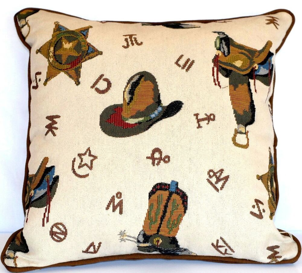 western cowboy decorative throw pillow kids tapestry den country brown handmade eBay
