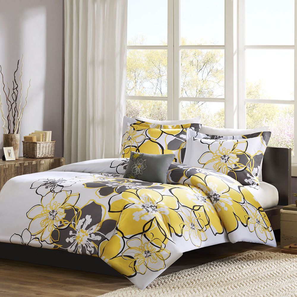 Beautiful Modern Chic Yellow Grey Black White Flower