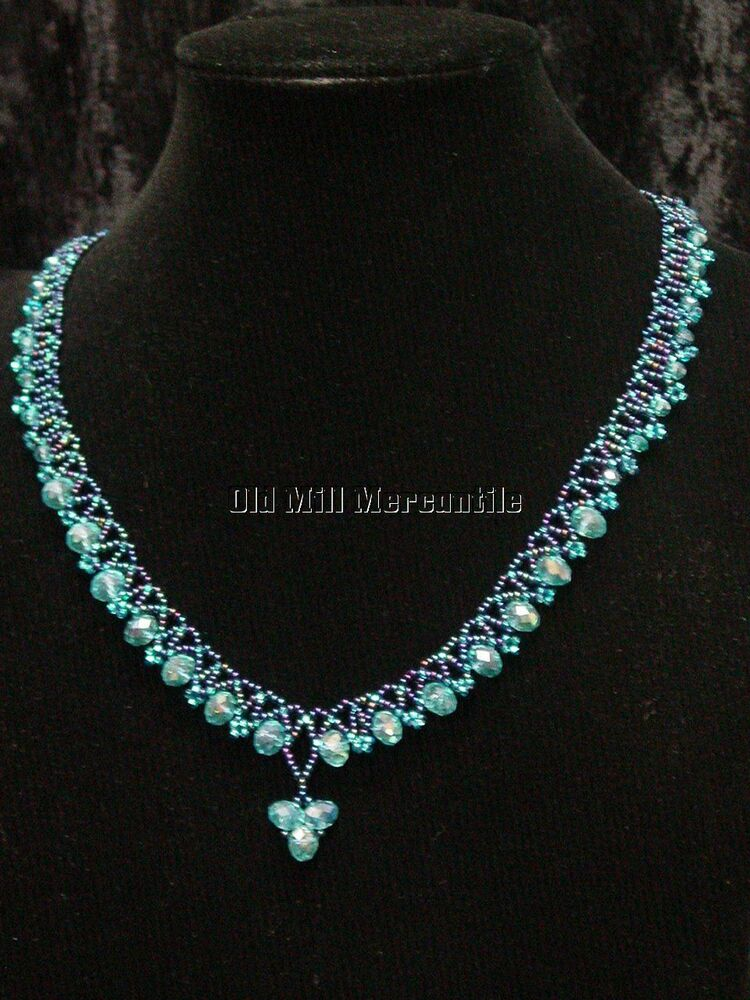 Hand Beaded Victorian Edwardian Vintage Style Necklace Blue Czech Beads Ebay