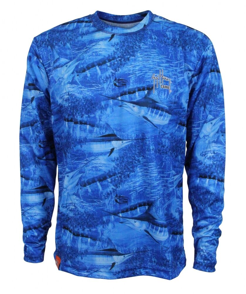guy harvey legend camo blue performance fishing shirt