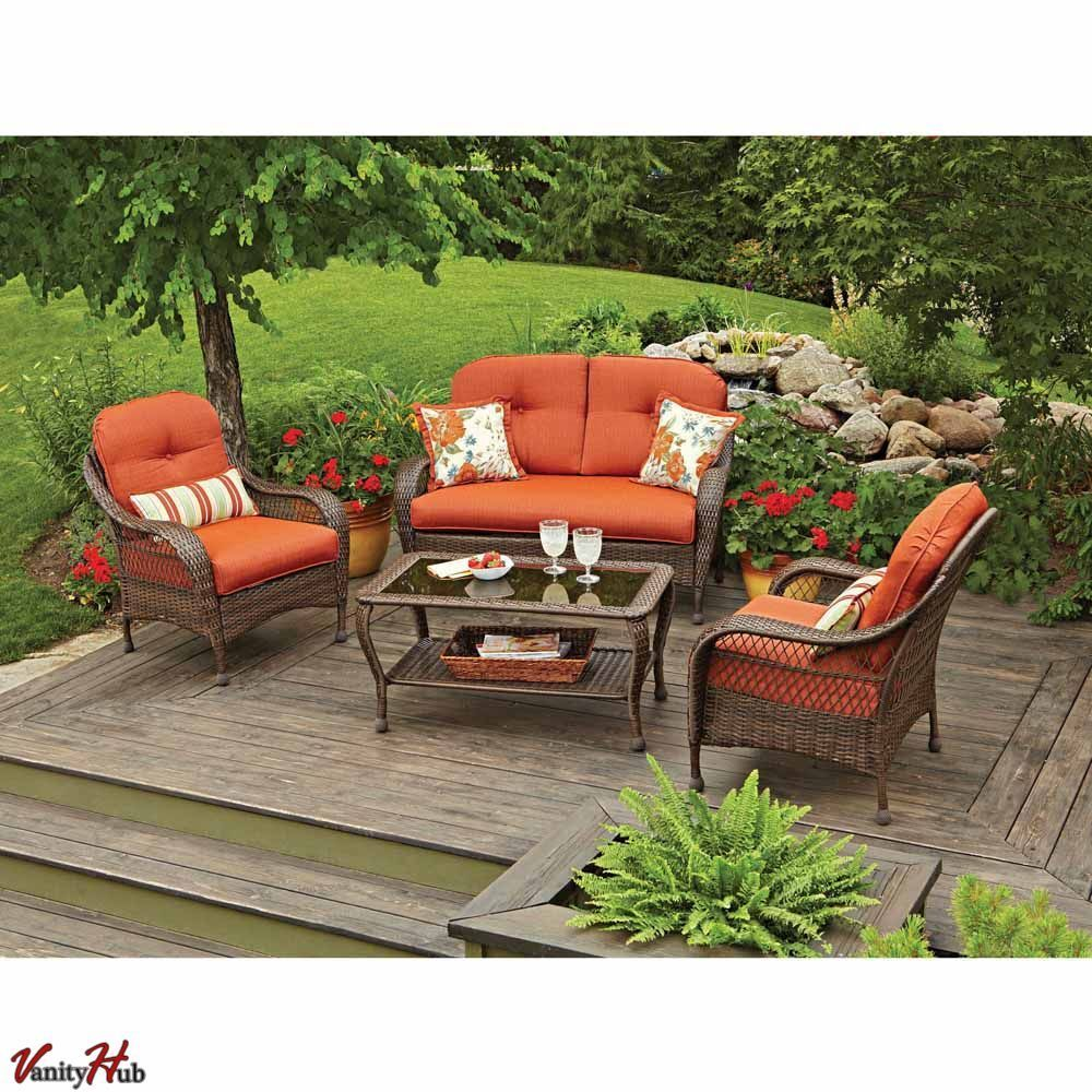 4 pc patio deck outdoor resin wicker chair sofa sectional for Garden patio sets