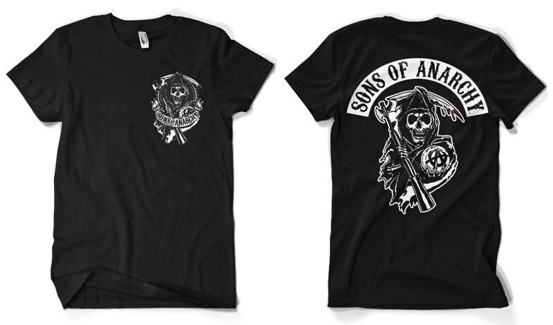 sons of anarchy official reaper back patch t shirt ebay. Black Bedroom Furniture Sets. Home Design Ideas