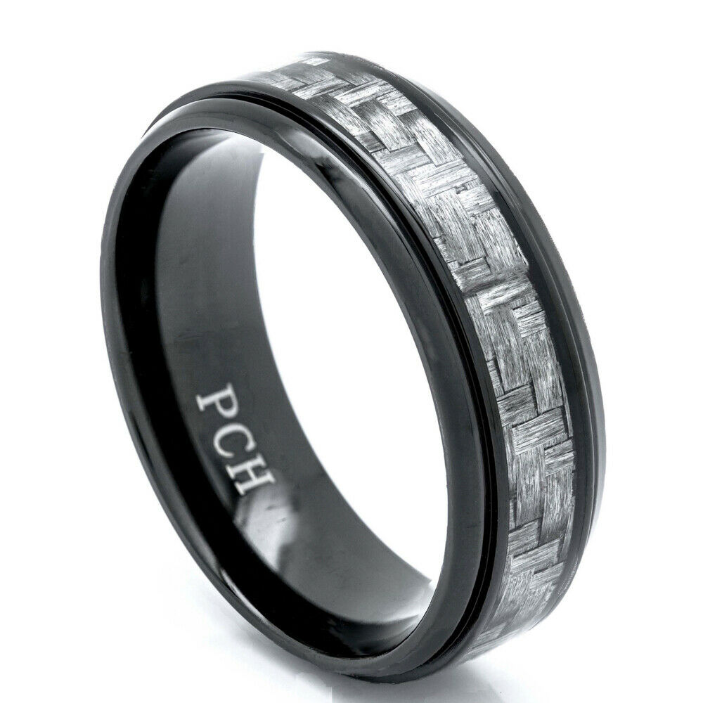 Black titanium men39s wedding band ring 8mm gray carbon for Mens wedding ring bands