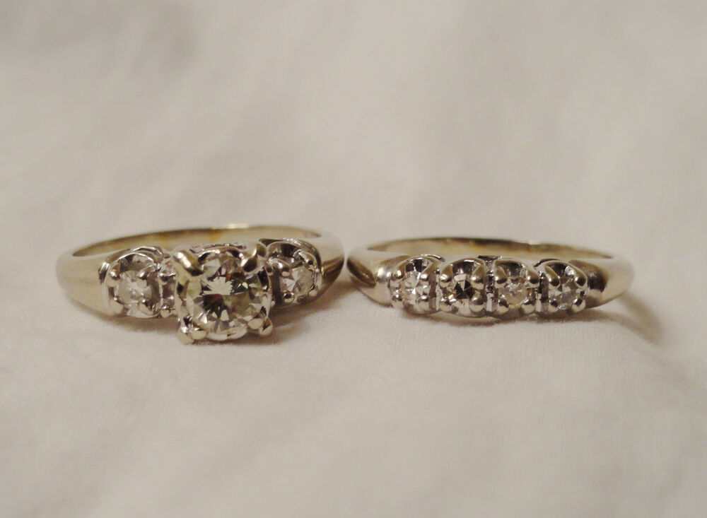 vintage antique mine cut 14k engage wedding ring