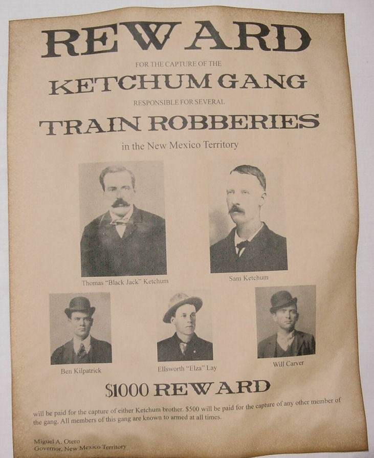 Ketchum Gang Wanted Poster, Western, Outlaw, Old West, Sam
