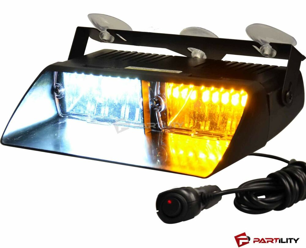 16 Led Amber White Light Emergency Car Vehicle Warning Strobe Flashing Dash Ebay