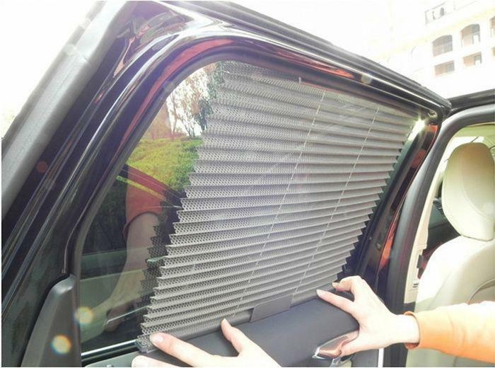 automatic retractable side window car curtain sun shading curtain blinds gray ebay. Black Bedroom Furniture Sets. Home Design Ideas