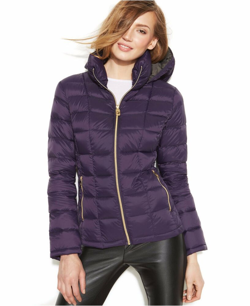 michael michael kors woman 39 s purple down quilted hooded puffer coat packable ebay. Black Bedroom Furniture Sets. Home Design Ideas
