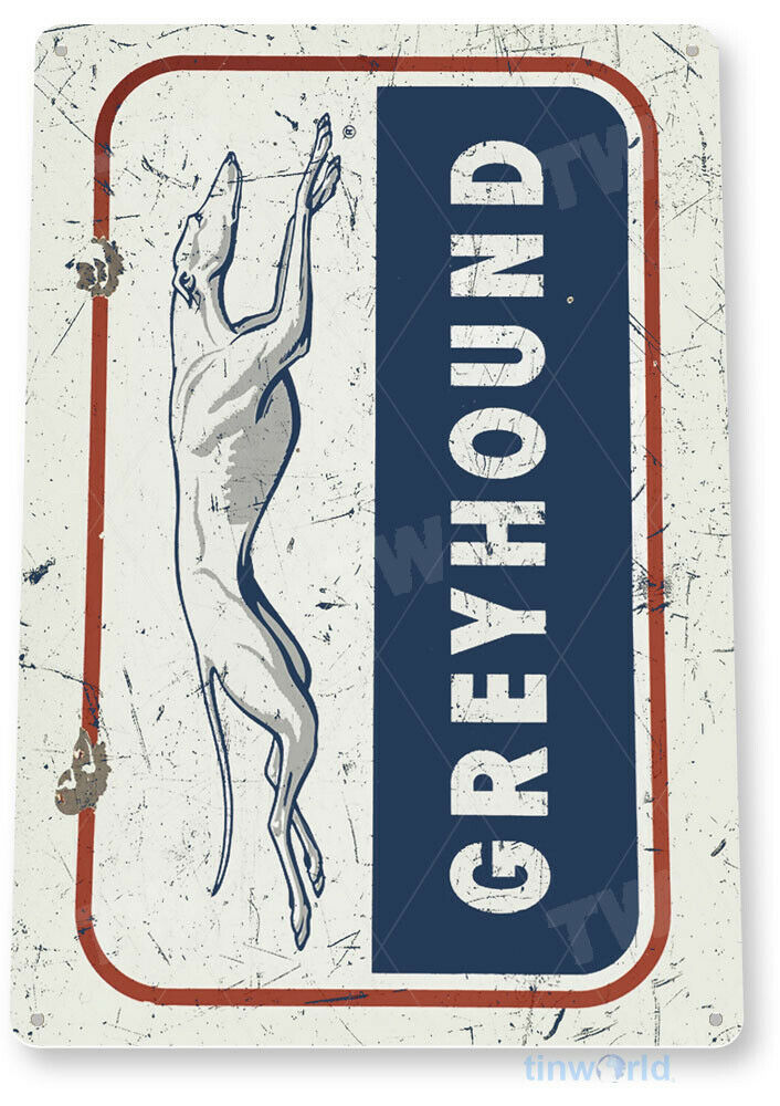 "TIN SIGN ""Greyhound"" Bus Stop Depot Metal Wall Decor Shop"