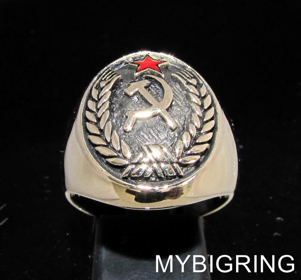 Oval Bronze Men S Crest Ring Hammer And Sickle Seal Red