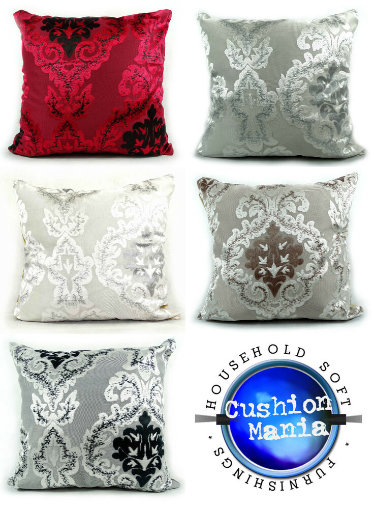 Cushions Damask Velour Cut Velvet Cushions Or Covers Red