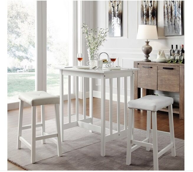 Small White Kitchen Table Sets: NEW 3PC White Kitchen Counter Height Dining Set Pub Bar