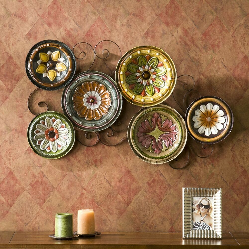 Kitchen Metal Wall Decor: Hand Painted Italian Scattered Plates Metal Wall Art Decor