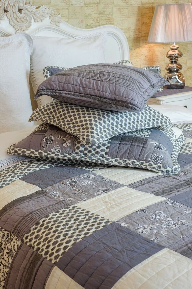Fantastic King Size Grey Patchwork Quilt 100 Cotton
