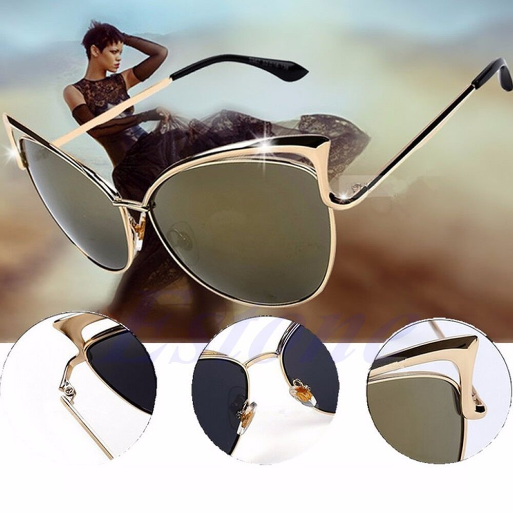 Sunglasses Cat Eye Pin Up Rockabilly 50s Shades Gold Brown