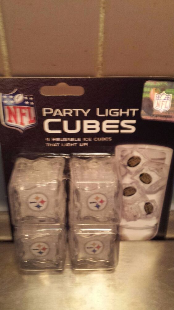 pittsburgh steelers party light cubes 4 light up ice cube set nfl free shipping ebay. Black Bedroom Furniture Sets. Home Design Ideas