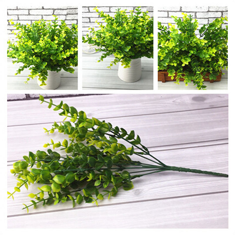Green artificial plastic small leaves plants 7 branches for Artificial leaves for decoration